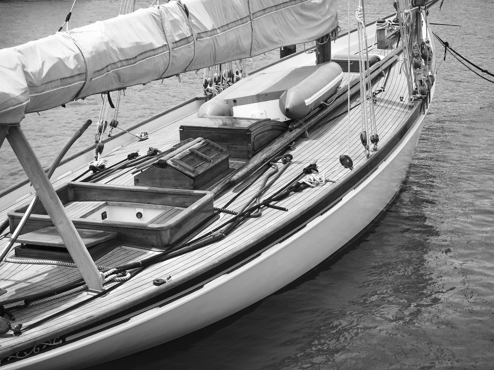Auckland Harbour Yacht - Black & White - Street Photography Auckland
